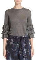 Fuzzi Women's Tiered Ruffle Sleeve Metallic Top