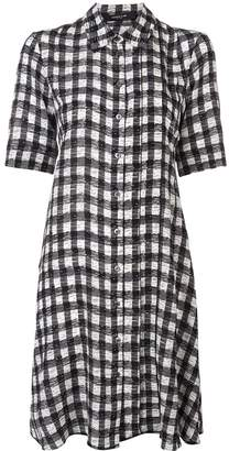 Derek Lam Short Sleeve Plaid Print A-Line Shirt Dress