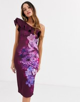 Lipsy frilly one shoulder scuba pencil dress in plum floral print