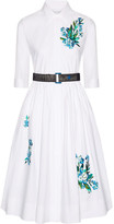Jonathan Saunders Liv Embroidered Cotton-poplin Dress - White