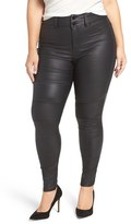 City Chic Plus Size Women's Skylar Coated Pintuck Skinny Jeans