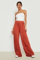 Boohoo Iman Pin Tuck Soft Tailored Jersey Wide Leg Trousers