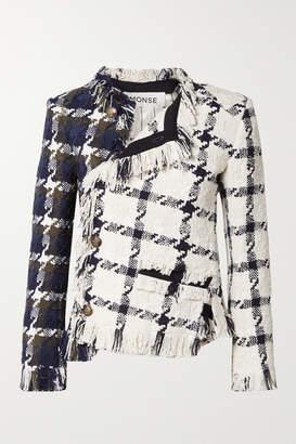 Monse Asymmetric Fringed Cotton-blend Tweed Jacket - Navy