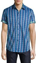 Robert Graham Geometric-Print Short-Sleeve Sport Shirt, Blue