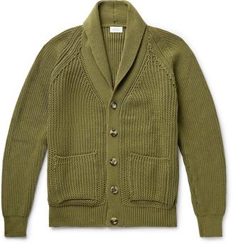 Brioni Shawl-Collar Ribbed Cotton Cardigan