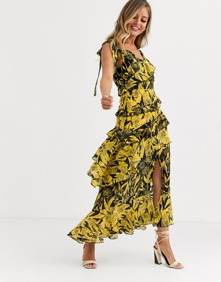 Dark Pink one shoulder midaxi dress in yellow black mixed print