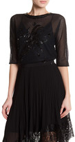 Karen Millen Limited Edition Faux Leather & Sequin Detail Mesh Shirt