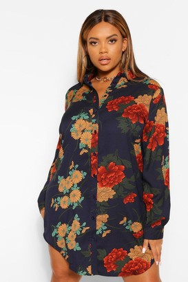 boohoo Plus Floral Satin Shirt Dress
