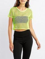 Charlotte Russe Neon Mesh Crop Top