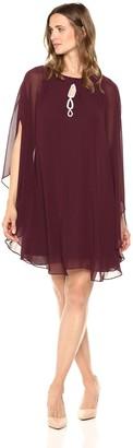 SL Fashions Women's Multi Chiffon Capelet Beaded High Neck Dress