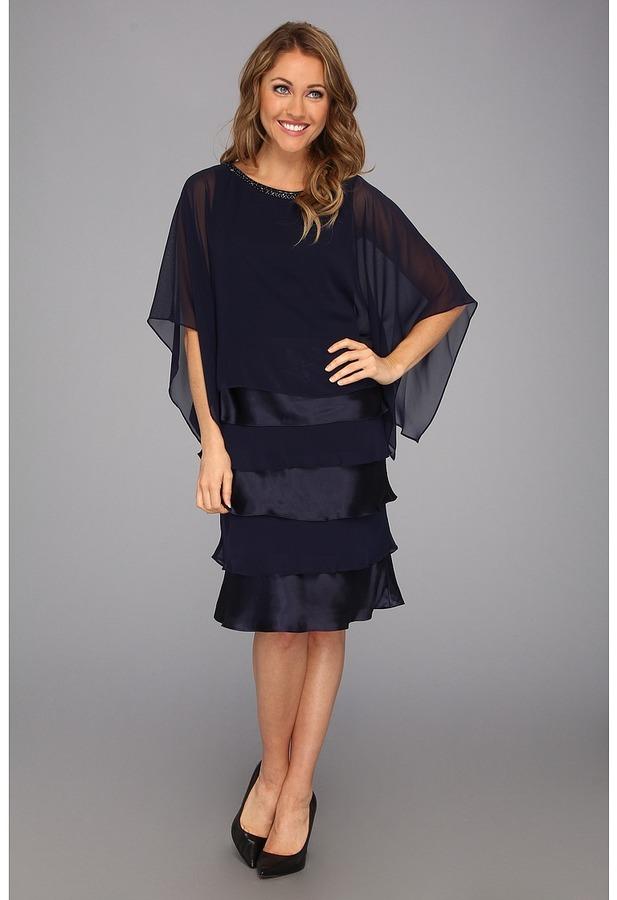 Jessica Howard Three-Quarter Sleeve Beaded Popover Dress w/Shutter Pleat (Navy) - Apparel