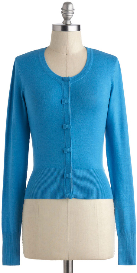 Louche Somewhere to Bow Cardigan in Blue