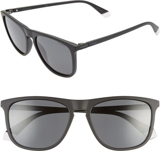 Polaroid 56mm Polarized Rectangle Sunglasses