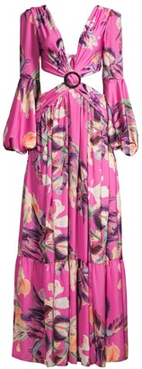 PatBO Cutout Long-Sleeve Maxi Dress