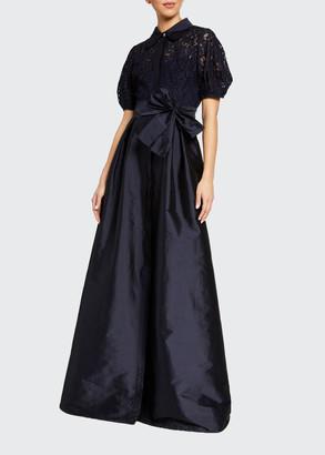 Rickie Freeman For Teri Jon Puff-Sleeve Lace-Bodice Taffeta-Skirt Shirtdress