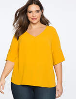 ELOQUII V-Neck Top with Button Sleeve Detail