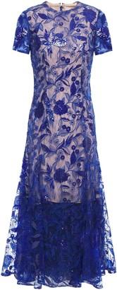 Costarellos Embellished Tulle Midi Dress