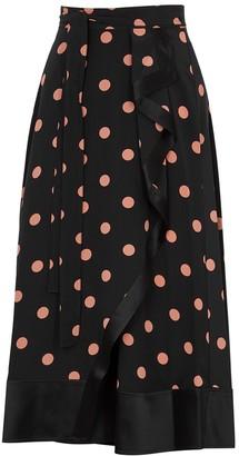 Tory Burch Black polka-dot silk wrap skirt