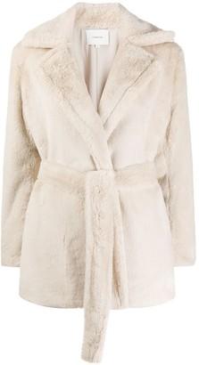 Vince Belted Faux Fur Jacket