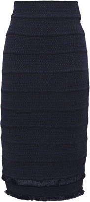 Herve Leger Frayed-trimmed Bandage Skirt