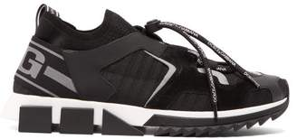 Dolce & Gabbana Sorrento Leather Trimmed Knitted Trainers - Mens - Black Multi