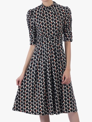 Jolie Moi Funnel Neck Abstract Jersey Dress, Multi