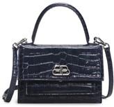Balenciaga Extra-Small Sharp Croc-Embossed Leather Top Handle Satchel