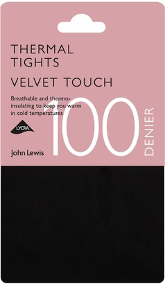 John Lewis & Partners 100 Denier Opaque Thermal Tights, Black