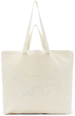MAISON KITSUNÉ Off-White XXL Rainbow Profile Fox Tote