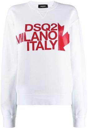 DSQUARED2 logo print crewneck sweatshirt