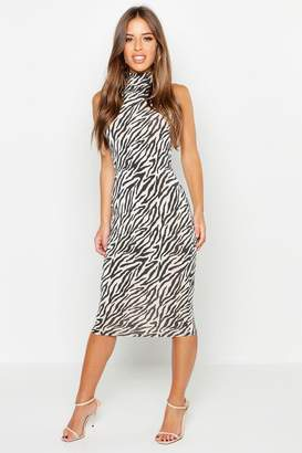 boohoo Petite Zebra Print Slinky High Neck Dress