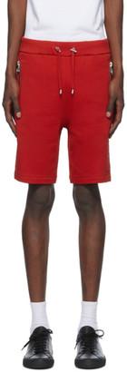 Balmain Red Embossed Bermuda Shorts