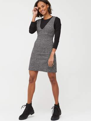 Very Houndstooth Pinafore Dress - Black Grey