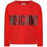 Moschino MoschinoGirls Red Cropped Logo Jersey Top