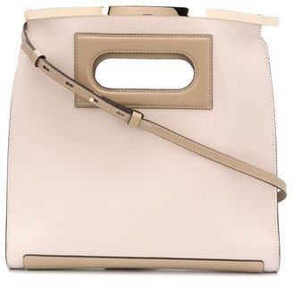 Stée Curved Leather Tote Bag With Metal Accent