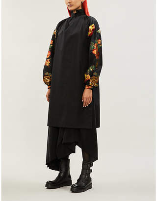 aganovich Floral-jacquard oversized cotton and silk-blend shift dress