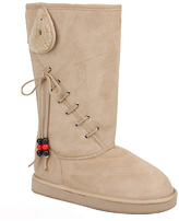 Beige Lace-Up Boot