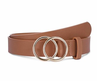Hertsen Women's Leather Belt for Jeans Dresses Fashion Waist Belt with Gold Double Ring Buckle (Brown)