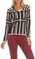 Yuka Paris Black & Ivory Geometric V-Neck Sweater