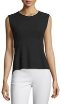 CNC Costume National Sleeveless Contrast-Trim Peplum Top, Black