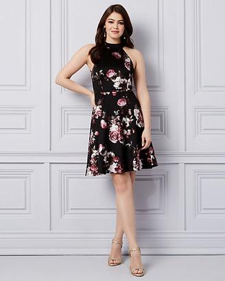 Le Château Floral Print Foil Knit & Lace Halter Dress