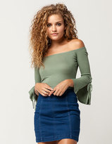 Hip Bell Sleeve Womens Off The Shoulder Top