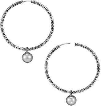 John Hardy Chain Sterling Silver & 9.5-10MM Tahitian Pearl Hoop Earrings
