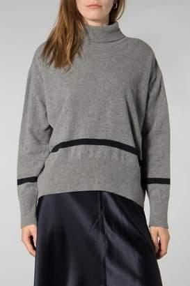 Libertine-Libertine Grey Melange Dark Navy Husky Knit Jumper - XSMALL