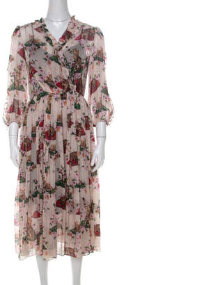 Dolce & Gabbana Multicolor Cat and Floral Print Silk Ruffled Trim Midi Dress M