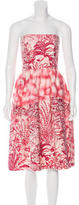 David Meister Toile du Jouy Print Strapless Dress