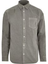 River Island Mens Big and Tall grey denim distressed shirt