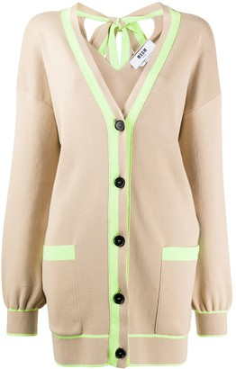 MSGM Oversized Neon Trim Cardigan