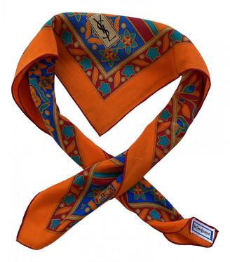 Saint Laurent Orange Silk Scarves