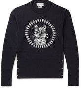 Thom Browne Cat-embroidered Wool Sweater - Navy
